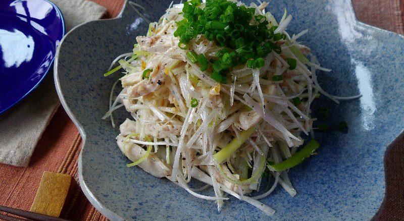 風邪・疲労回復におすすめの薬膳レシピ 『長ネギと鶏肉のナッツサラダ』